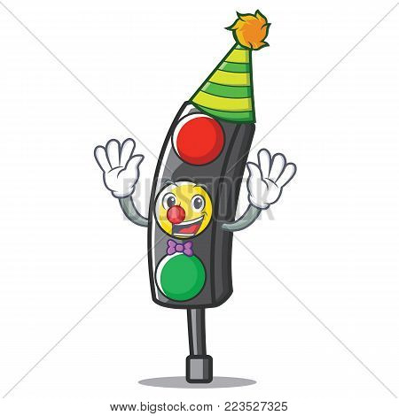 Clown traffic light character cartoon vector illustration