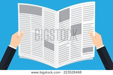 Man reading a Newspaper news. Opened newspaper in businessman hands. Vector illustration