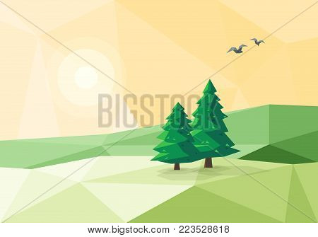 Stylized Low Poly Landscape With Conifer Trees