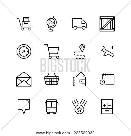 Delivery flat icon set . Single high quality outline symbol of info for web design or mobile app. Thin line signs for design logo, visit card, etc. Outline logo of delivery