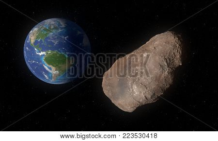 This image represents 2002 AJ129 asteroid, small rock in close pass to Earth in February 2018. Artwork scientific concept.This is a 3d rendering.