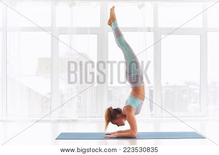 Young woman practicing yoga, standing in Pincha Mayurasana - Forearm stand at the bright yoga class with large windows