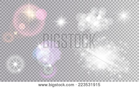 Colorful  clouds and flare effects. White sparkling fogs, bokeh, various stars.