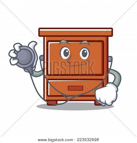 Doctor wooden drawer character cartoon vector illustration