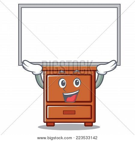 Up board wooden drawer character cartoon vector illustration