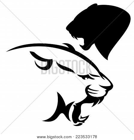 roaring cougar vector design - black and white side view panther head