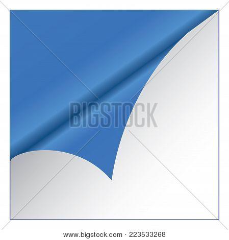 Blue sticker on white background. Vector illustration