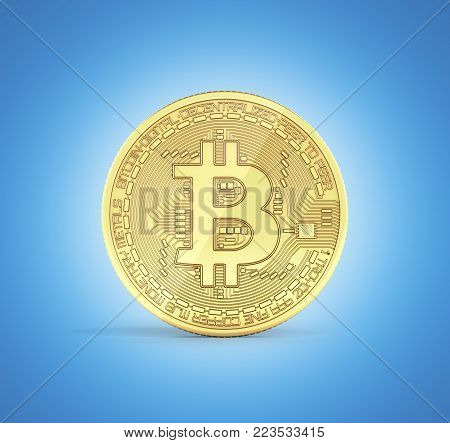 Bitcoin 3D isometric Physical bit coin in gold Digital currency Cryptocurrency Golden coin with symbol isolated on blue gradient background 3d render illustration
