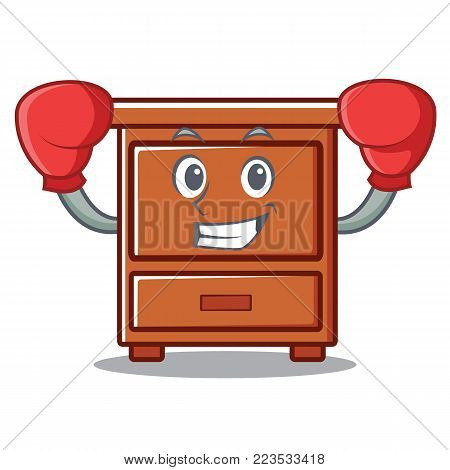 Boxing wooden drawer character cartoon vector illustration