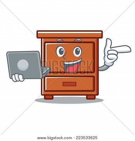 With laptop wooden drawer character cartoon vector illustration