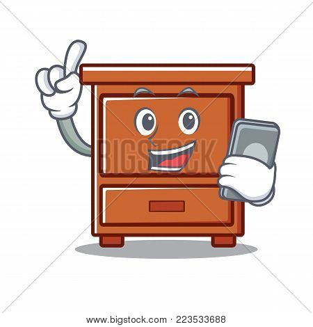 With phone wooden drawer character cartoon vector illustration