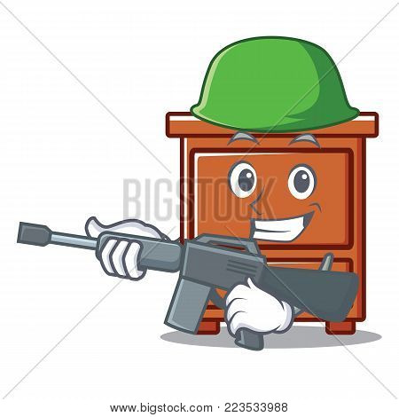 Army wooden drawer character cartoon vector illustration