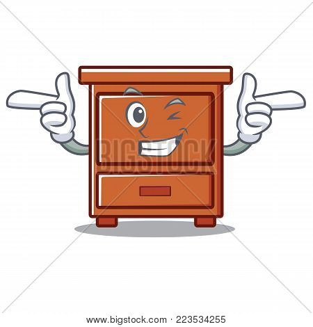 Wink wooden drawer character cartoon vector illustration