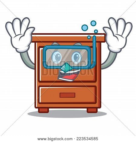 Diving wooden drawer character cartoon vector illustration