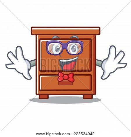 Geek wooden drawer character cartoon vector illustration