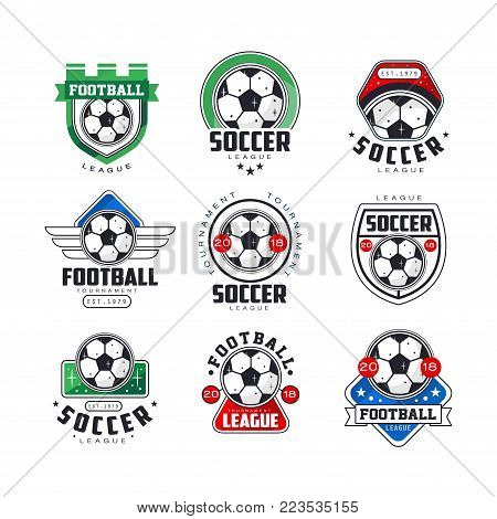 Soccer league or tournament logo templates set. Collection of football emblem and labels. Creative line art icons design with bright colors for print, t-shirt, souvenir. Flat vector isolated on white.