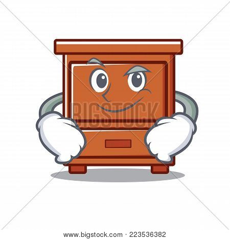 Smirking wooden drawer character cartoon vector illustration