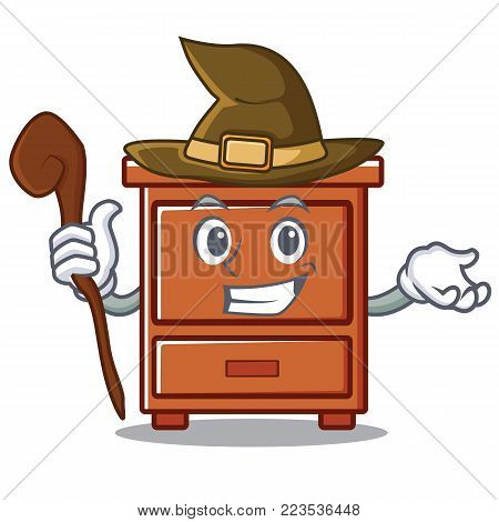 Witch wooden drawer mascot cartoon vector illustration