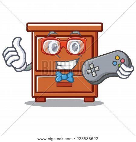 Gamer wooden drawer mascot cartoon vector illustration