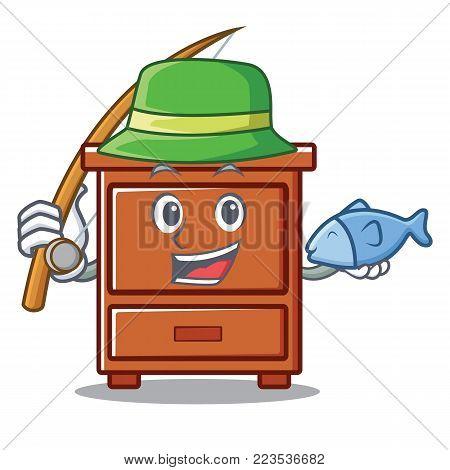 Fishing wooden drawer mascot cartoon vector illustration