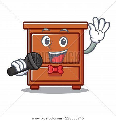 Singing wooden drawer mascot cartoon vector illustration