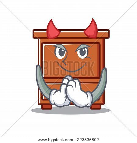 Devil wooden drawer mascot cartoon vector illustration