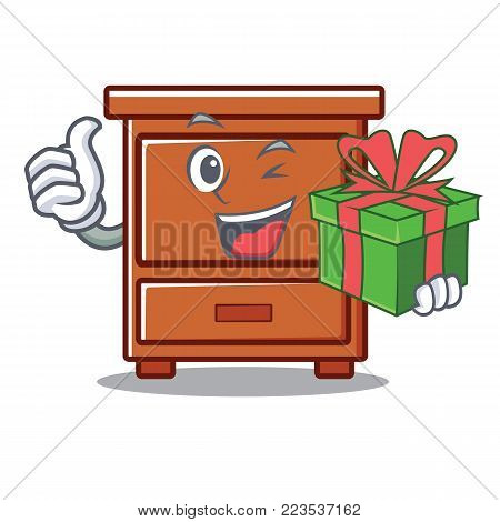 With gift wooden drawer mascot cartoon vector illustration
