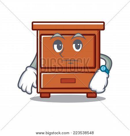 Waiting wooden drawer mascot cartoon vector illustration