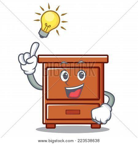 Have an idea wooden drawer mascot cartoon vector illustration