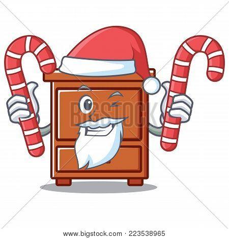 Santa with candy wooden drawer mascot cartoon vector illustration