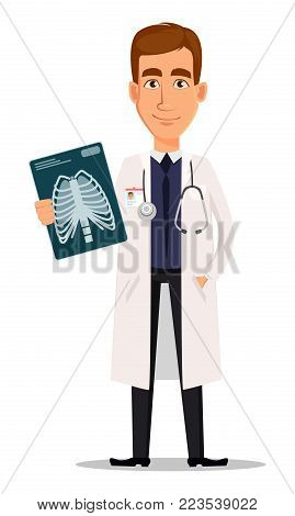 Young professional doctor holding x-ray shot. Medical worker. Hospital staff. Cartoon character on white background. Vector illustration.