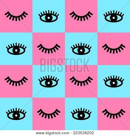 Seamless pattern with eyelashes. Open eye with lash. Cute eyelash. Background with lashes. Vector illustration. Pink and blue backdrop. Fashion style.