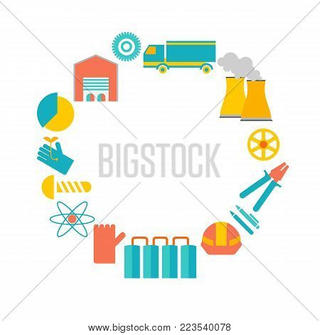 Decorative poster including smokestacks, pliers, gloves, warehouse around the white field without words in the center vector illustration