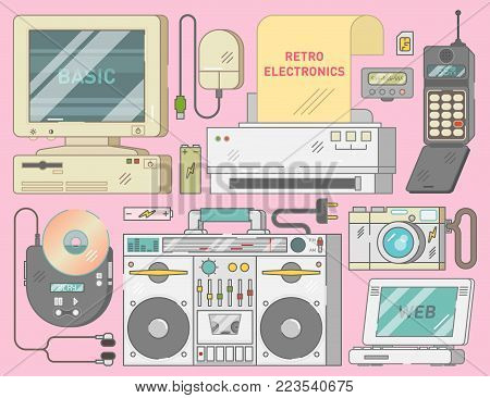 Retro vintage electronics set with computer, mouse, printer, mobile phone, cd player, photo camera, pager, tape recorder, batteries and sim card illustration