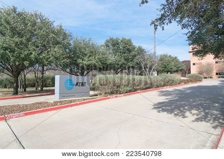 IRVING, TX, US-JAN 20, 2018:Entrance to AT T Inc. Training Campus, Center For Learning. American multinational conglomerate holding, world largest telecommunications headquartered at Dallas, Texas