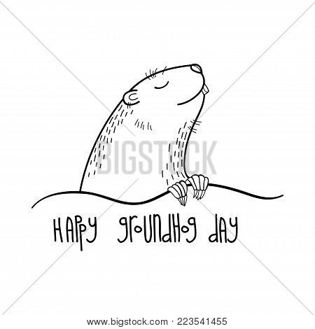 Vector Happy Groundhog day card with outline cute groundhog or marmot or woodchuck in black isolated on white background. Forecast spring animal in contour style for greeting design.