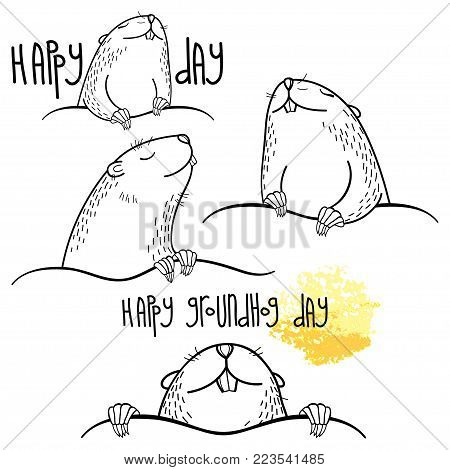 Vector Happy Groundhog day set with outline cute groundhog or marmot or woodchuck in black isolated on white background. Forecast spring animal in contour style for coloring book and greeting design.