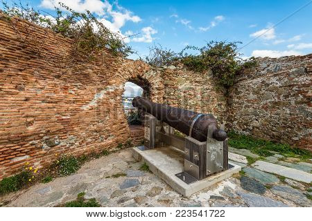 Savona, Italy - December 2, 2016: Old cannon in the Priamar fortress. Priamar fortress built between 1542 and 1544 by the Genoese citizens.