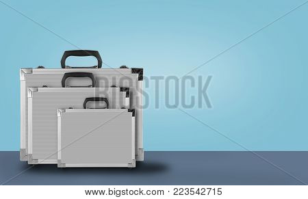 Construction, repair, tools - Three Grey box case for tools on blue background.