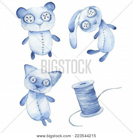 Creepy toys. Cute hande made watercolor animals, isolated on white
