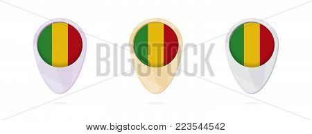 Map markers with flag of Mali, 3 color versions.