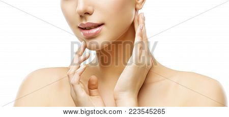 Lips and Face Skin Care, Woman Beauty Makeup and Treatment, Model Touching Lip and Neck by Hand, Isolated on White Background
