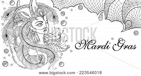 Vector woman face in clown cap with outline peacock feathers, ornate collar and beads in black on the white background. Design for invitation Mardi Gras party and coloring book in contour style.