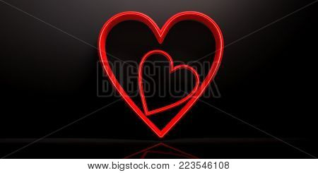 Valentine's Day. Red Joined Hearts On Black Background. 3D Illustration