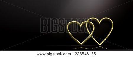 Valentine's Day. Golden Interlocking Hearts On Black Background, Banner, Copy Space. 3D Illustration