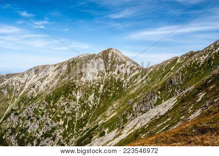 Pachola mountain peak on Rohace mountain group in Western Tatras mountains on Slovakia from Jalovecke sedlo pass on hiking trail between Ziarska chata and Banikov peaks