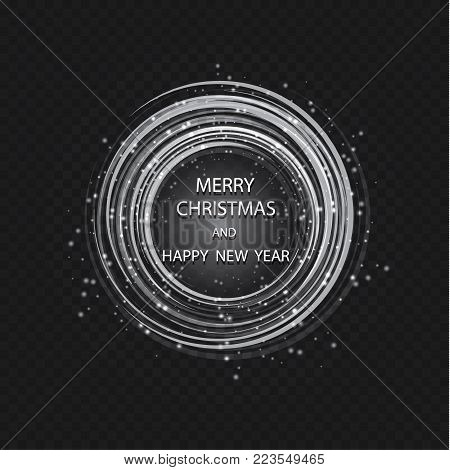 Christmas Greeting Card Light Vector Background. Merry Christmas Holidays Wish Design And Vintage Or