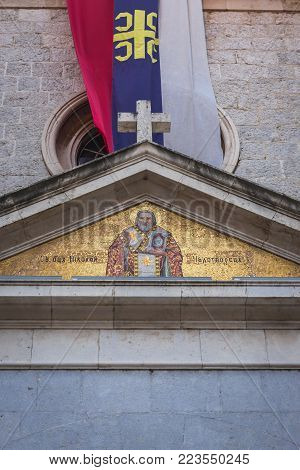 Close up on facade of St Nicholas Serbian Orthodox temple on the Old Town of Kotor in Montenegro