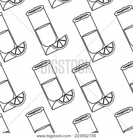 Shot and lemon of alcohol drink and glass theme Isolated design Vector illustration