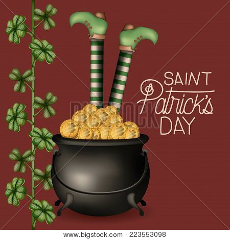 poster saint patricks day with cauldron full of gold coins and leprechaun legs and climbing plant of clovers in colorful silhouette over dark red background vector illustration